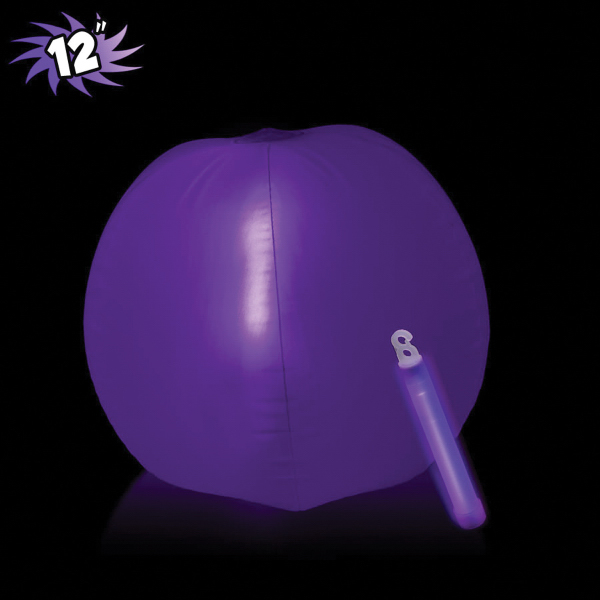 Custom Translucent Purple Beach Ball with Glow Stick