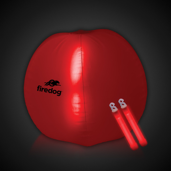 "Printed Translucent Red 24"" Inflatable Beach Ball with Glow Sticks"
