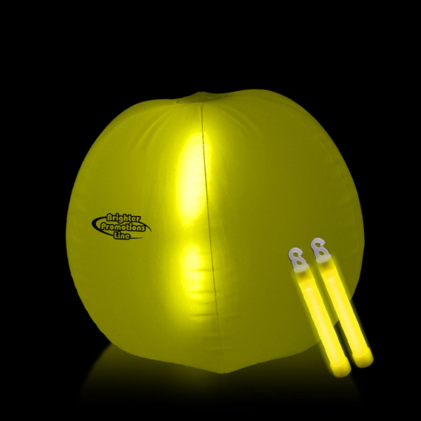 "Personalized Translucent Yellow 24"" Inflatable Beach Ball with Glow Stick"