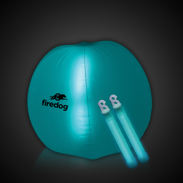 "Personalized Translucent Aqua 24"" Inflatable Beach Ball with Glow Sticks"