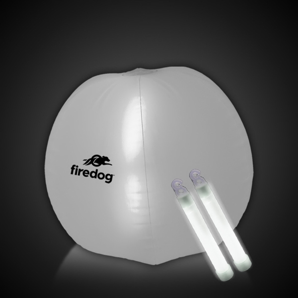 "Promotional Translucent White 24"" Inflatable Beach Ball with Glow Sticks"