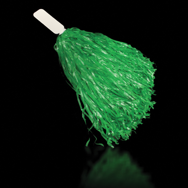 "Imprinted Green 16"" Plastic Pom Pom"