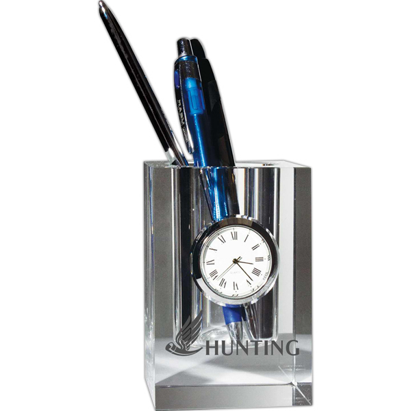 Customized Pen Holder with Clock