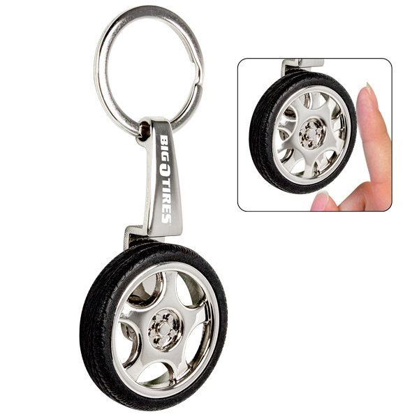 Printed Metal/rubber spinning tire key chain