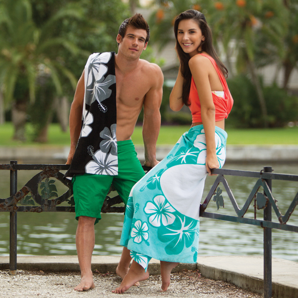 Imprinted Hibiscus Collection Stock Beach Towel