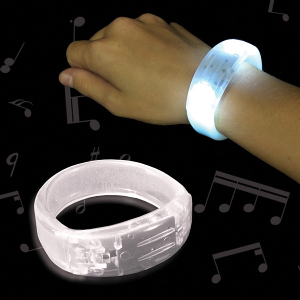 Customized White Soundsation Light Up Glow LED Bangle Bracelet