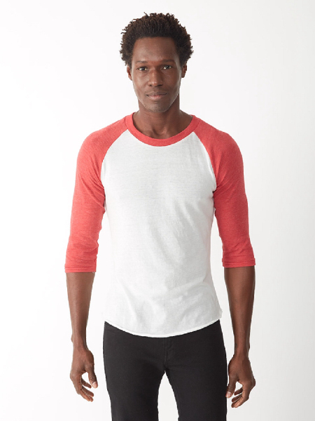 Printed Men's Color Block Baseball Tee