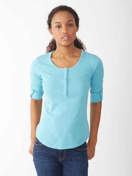 Imprinted Women's Rolled Sleeve Henley
