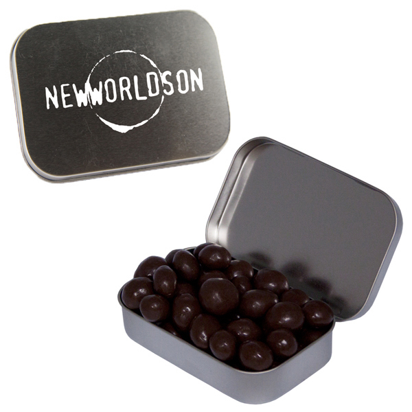 Custom Large Silver Mint Tin with Chocolate Espresso Beans