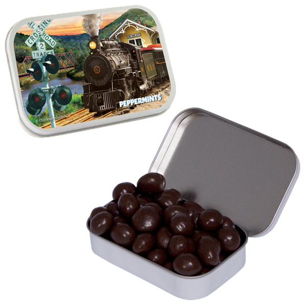 Printed Large White Mint Tin with Chocolate Espresso Beans