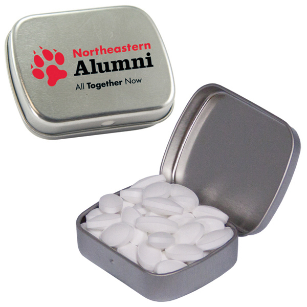 Personalized Caffeinated Silver Mint Tin filled with Caffeinated Mint