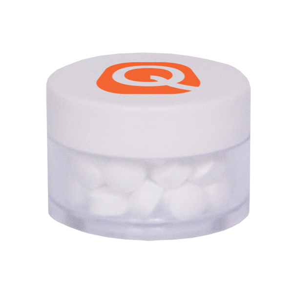 Promotional Twist Top Container White Cap Filled with Sugar-Free Mint