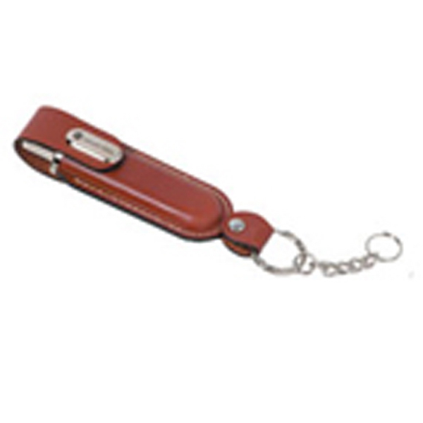 Imprinted Tan Leather USB Flash Drive
