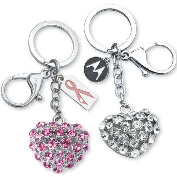 Promotional 3-D Heart Bling Key Ring