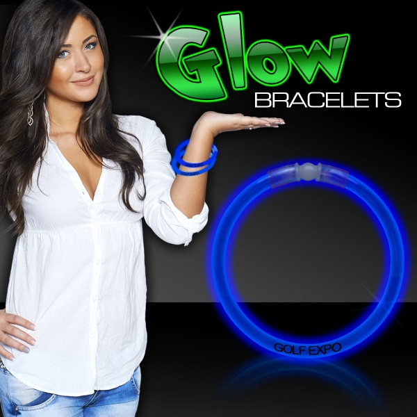 "Customized Blue 8"" Single Color Superior Light Up Glow Bracelet"