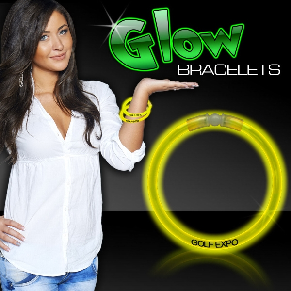 "Imprinted Yellow 8"" Single Color Superior Light Up Glow Bracelet"