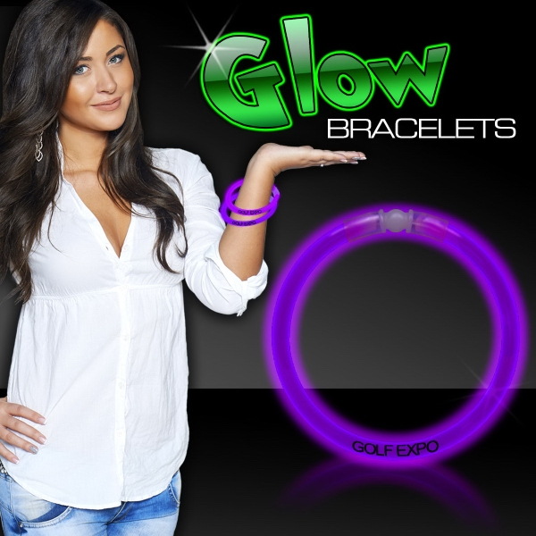 "Promotional Purple 8"" Single Color Superior Light Up Glow Bracelet"