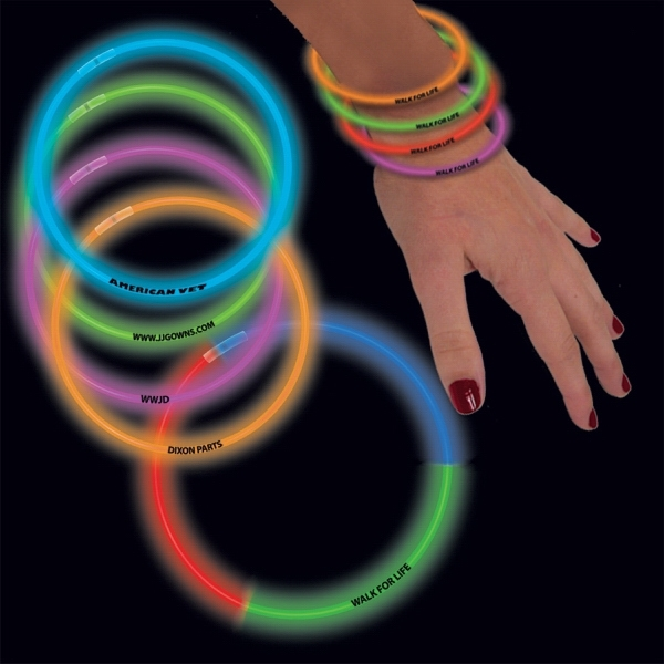 "Promotional Variety Pack 8"" Single Color Superior Light Up Glow Bracelet"