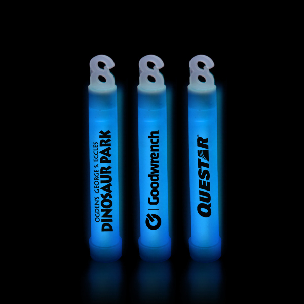 "Imprinted Blue 4"" Premium Glow Light Stick"