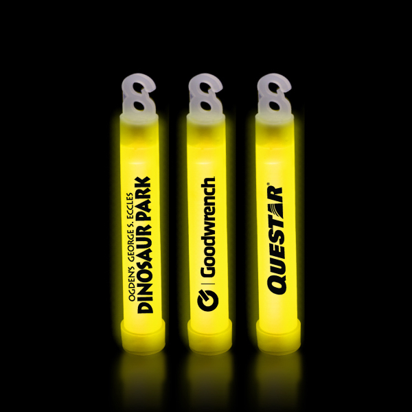 "Imprinted Yellow 4"" Premium Glow Light Stick"