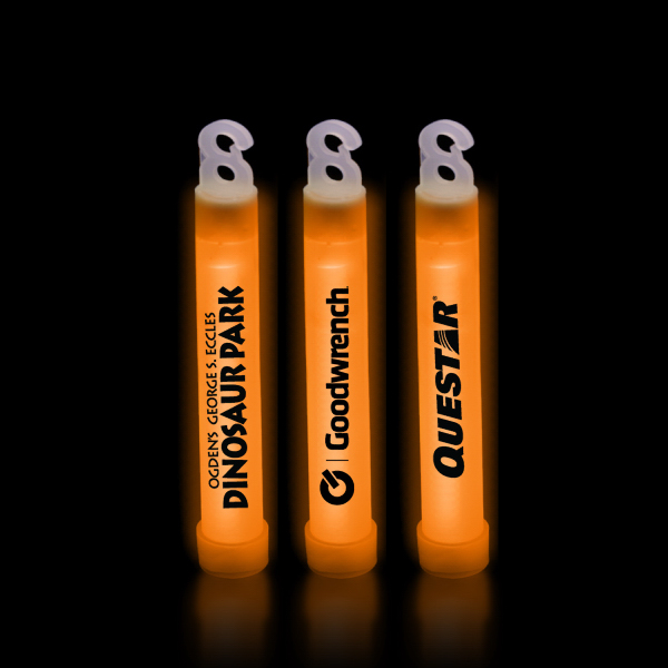 "Custom Orange 4"" Premium Glow Light Stick"