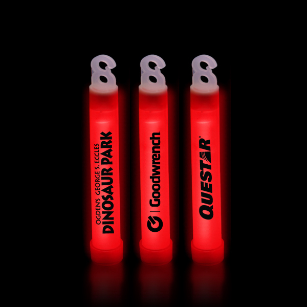 "Customized Red 6"" Premium Glow Light Stick"