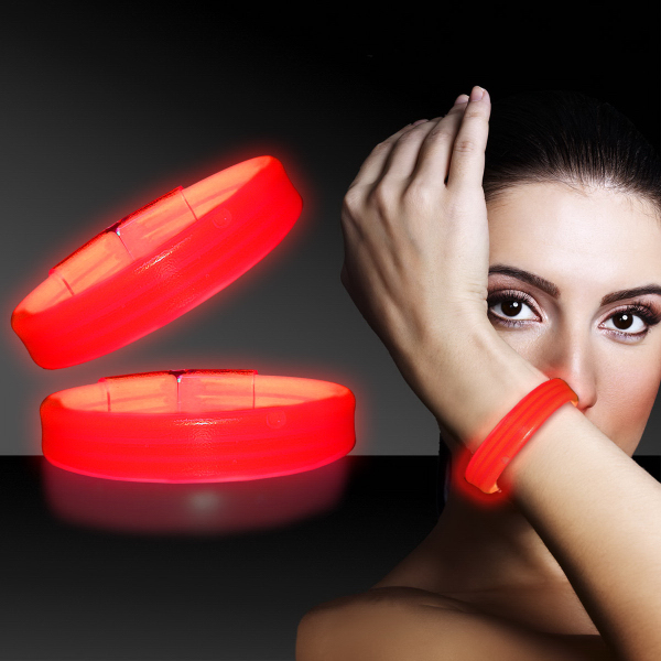 "Personalized Red 8"" Deluxe Triple Wide Light Up Glow Bracelet"