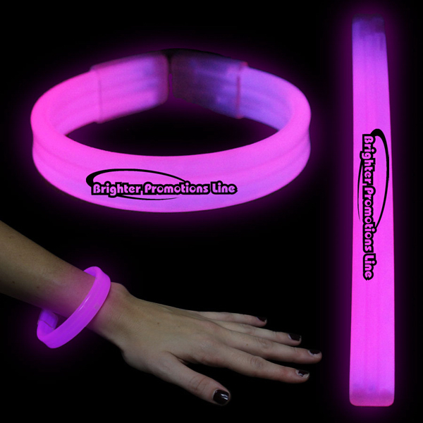 "Printed Pink 8"" Deluxe Triple Wide Light Up Glow Bracelet"