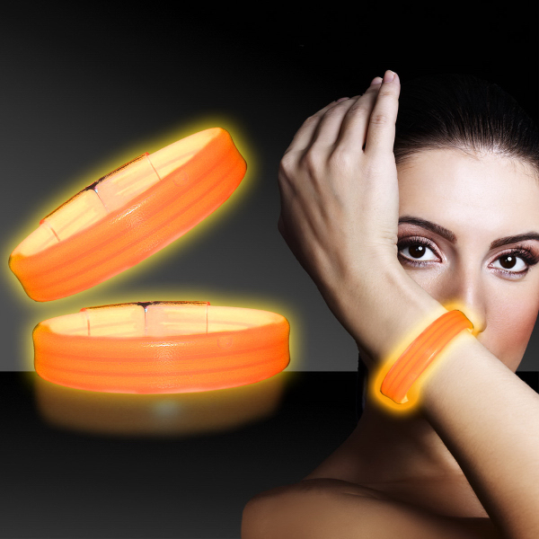 "Personalized Orange 8"" Deluxe Triple Wide Light Up Glow Bracelet"