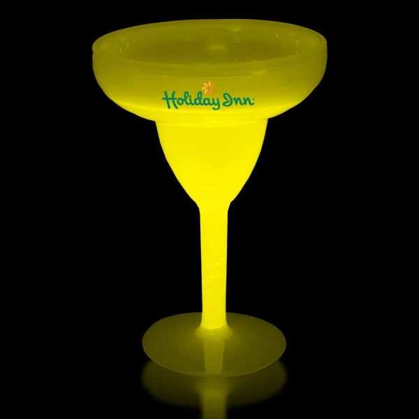 Printed Yellow 10 oz. Light Up Glow Margarita Glass