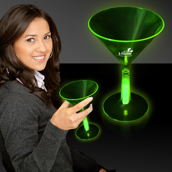 Customized Green 8 1/2 oz. Martini Glass with Glow Light Up Base