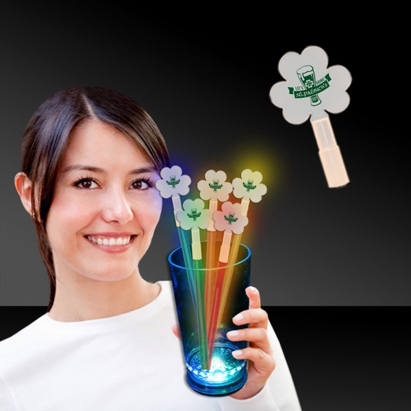 Promotional Shamrock Glow Light Up Swizzle Stick Toppers