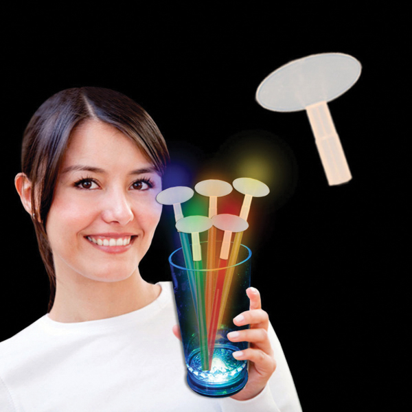 Promotional Oval Glow Light Up Swizzle Stick Toppers