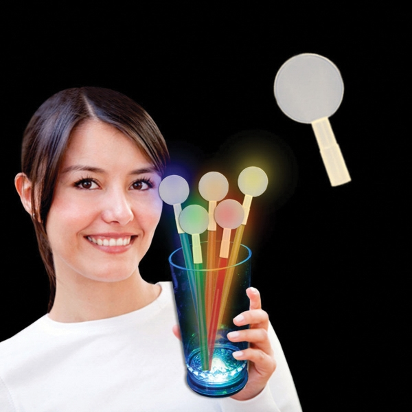 Promotional Round Glow Light Up Swizzle Stick Toppers