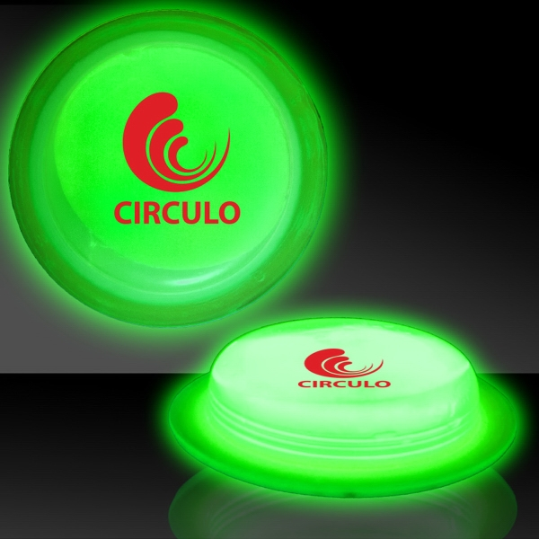 "Imprinted Green 3"" Self-Adhering Circle Shaped Light Up Glow Badge"