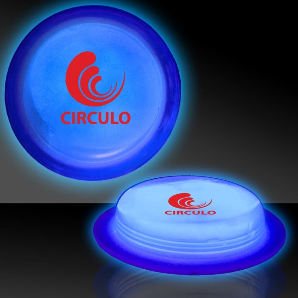 "Printed Blue 3"" Self-Adhering Circle Shaped Glow Light Up Badge"
