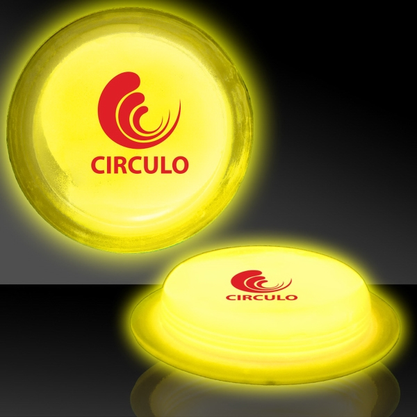"Customized Yellow 3"" Self-Adhering Circle Shaped Light Up Glow Badge"
