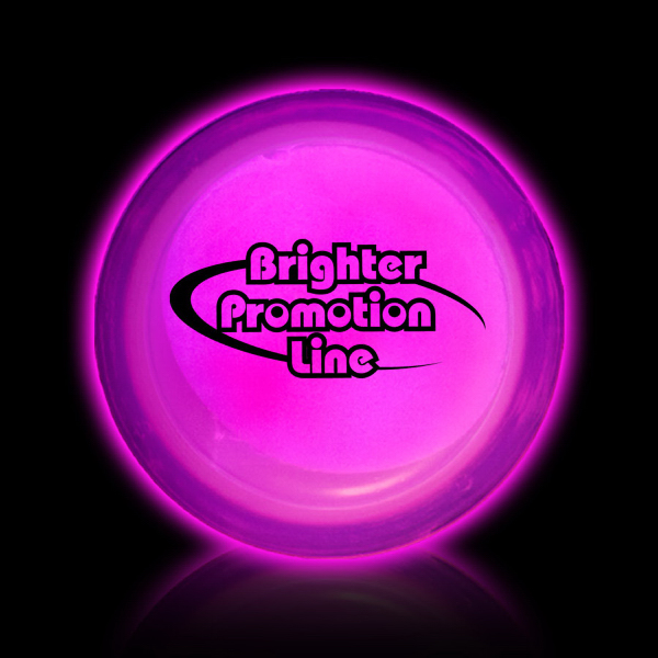 "Personalized Pink 3"" Self-Adhering Circle Shaped Light Up Glow Badge"