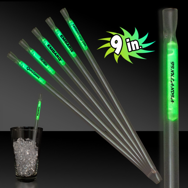 "Custom Green 9"" Glow Light Up Motion Straw"