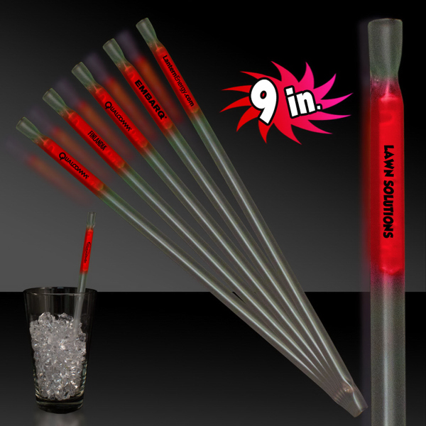 "Imprinted Red 9"" Glow Light Up Motion Straw"