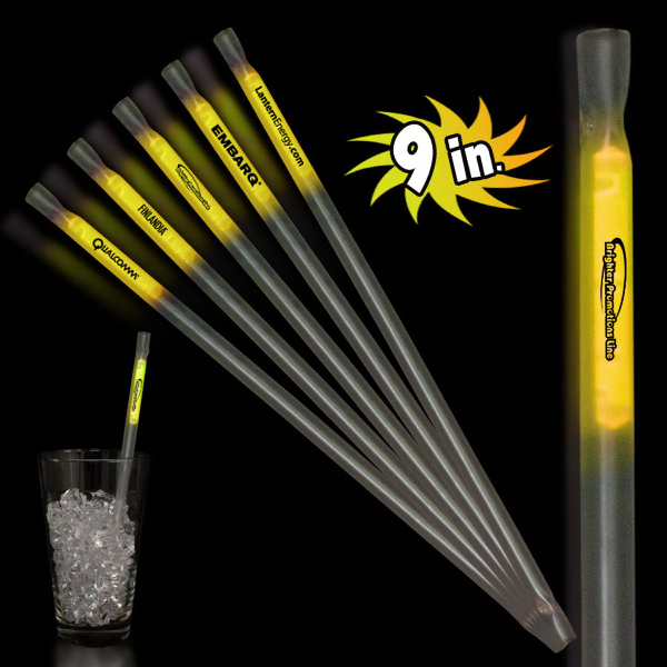 "Customized Yellow 9"" Glow Light Up Motion Straw"