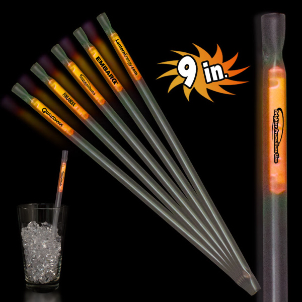 "Imprinted Orange 9"" Light Up Glow Motion Straw"