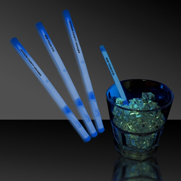 "Personalized Blue 5"" Single Color Light Up Glow Swizzle Stick"