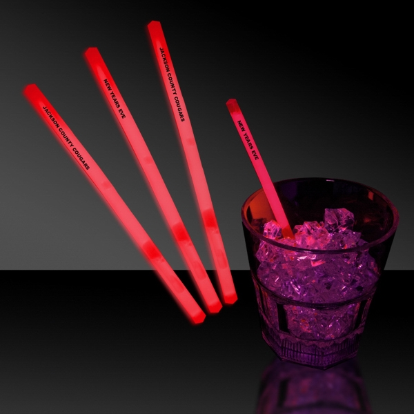 "Imprinted Red 5"" Single Color Light Up Glow Swizzle Stick"