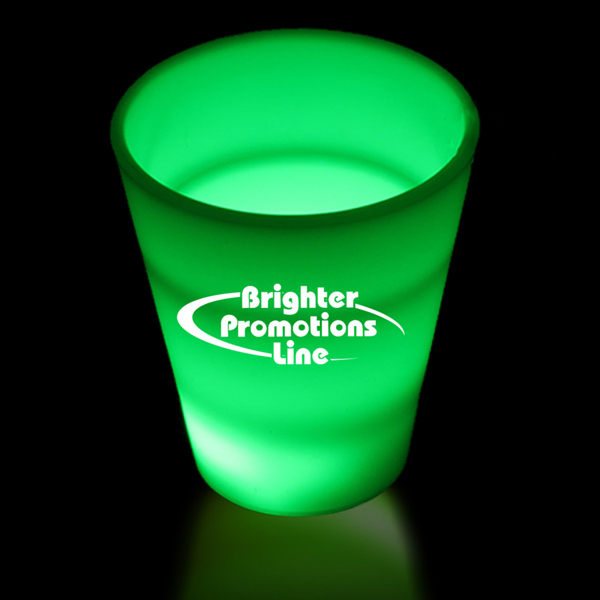 Imprinted Green LED Light Up Glow Neon Look 2 oz Shot Glass