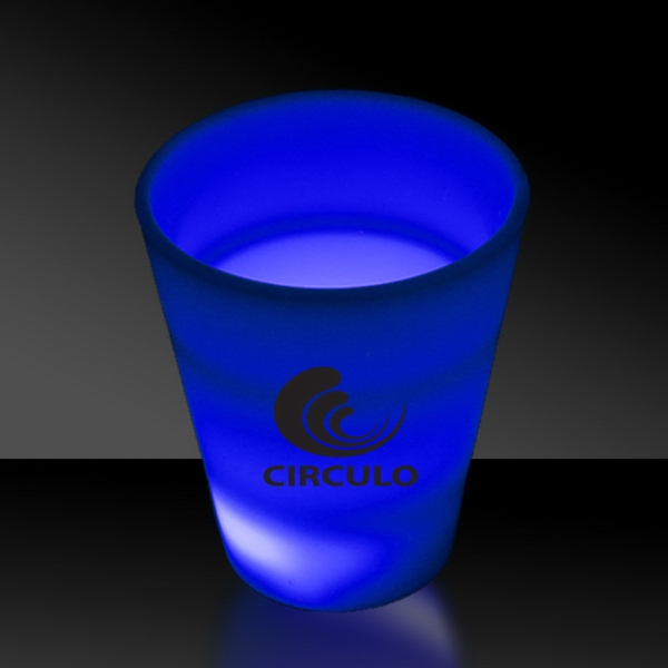 Customized Blue LED Light Up Glow Neon Look 2 oz Shot Glass