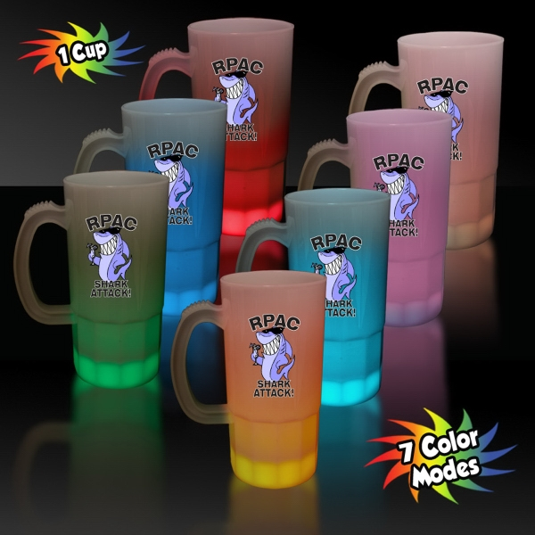 Promotional Multi Color LED Glow Light Up Neon Look 20 oz Beer Mug