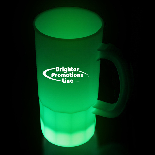 Customized Green LED Glow Light Up Neon Look 20 oz Beer Mug