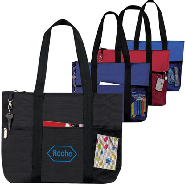 Printed Deluxe Jumbo Zippered Tote