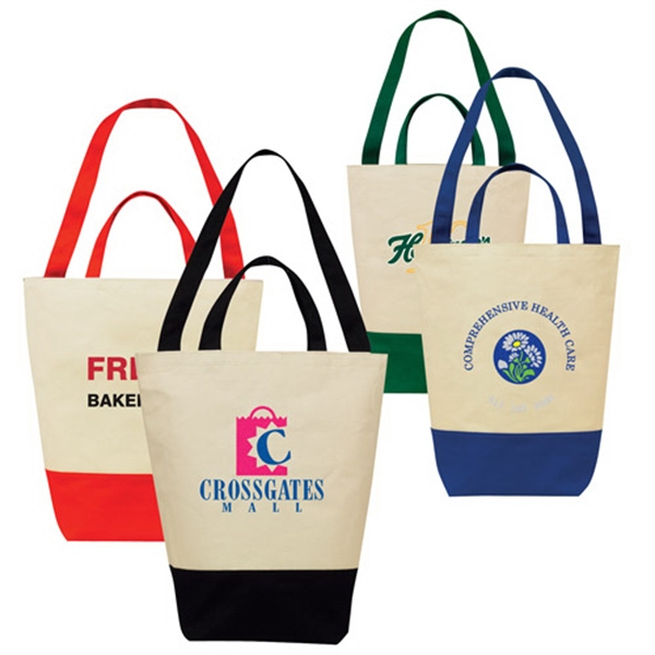 Imprinted Two Tone Dual Handle Canvas Shopping Tote